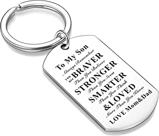 Nimteve to Son Daughter Tag Keychain Inspiration Keyring Graduation Birthday Jewelry Always Remember You are Smartar Brave...