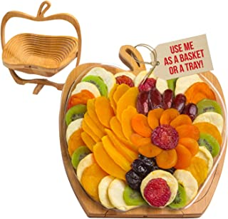 Dried Fruit Gift Basket – Tray Turns into Basket - Healthy Gourmet Snack Box – Holiday Food Tray - Great for Birthday, Sympathy, Father's Day, Christmas, or as a Corporate Tray – Bonnie & Pop