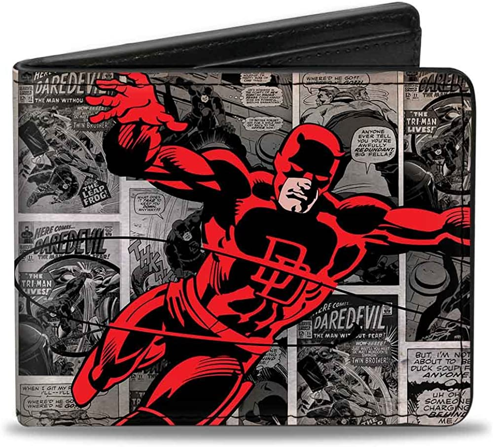 Buckle-Down mens Buckle-down Pu Bifold - Daredevil Action Pose + Price Box/Comic Panels Grays/Red Wallet, Multicolor, 4.0 x 3.5 US