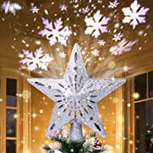 AerWo Christmas Tree Topper Lighted Star Tree Topper with Rotating Snowflake Projector Lights, 3D Glitter Hollow Star Tree...