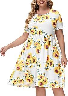 Hanna Nikole Women's Plus Size Sleeveless Casual T-Shirt Tank Dress with Pockets