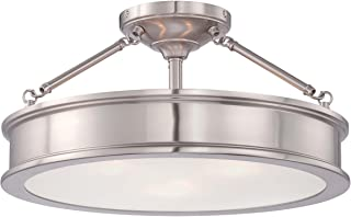 Minka Lavery Semi Flush Mount Ceiling Light 4177-84, Harbour Point Lighting Fixture, 3 Light, Nickel