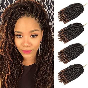 4 pack spring twist crochet braiding hair Ombre Colors Synthetic Hair Extensions T30