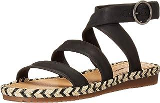 Lucky Brand Women's DELFINNE Flat Sandal, Black, 10