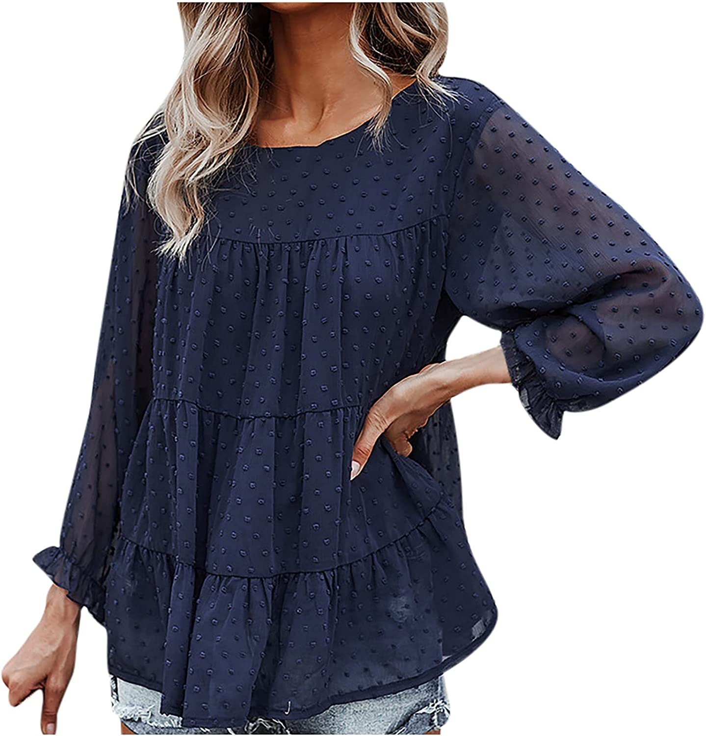 Women's Fashion Summer Dress Shirt Casual Loose Solid Color O-Neck Long Sleeve Splicing Blouse Tops