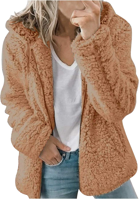 Womens Tops Plush Hoodie Jacket Casual Hooded Warm Jackets Zipper Cardigan Tops Coat Winter Trendy Sweater Sweatshirts