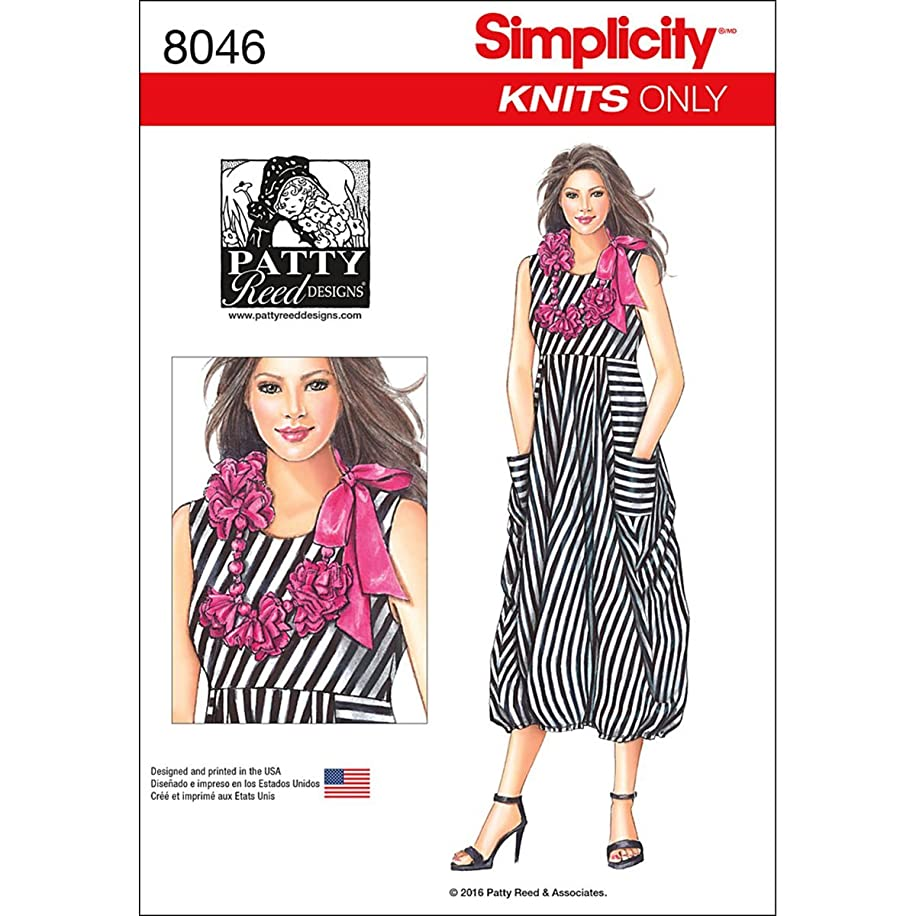 Simplicity 8046 Women's Flower Necklace and Knit Dress Sewing Pattern by Patty Reed, Sizes XS-XL