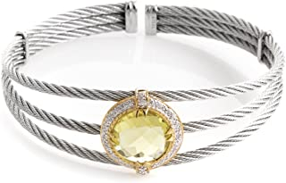 Celtic Classique Stainless Steel Yellow Gold Plated Diamonds and Lemon Citrine Cable Bangle Bracelet