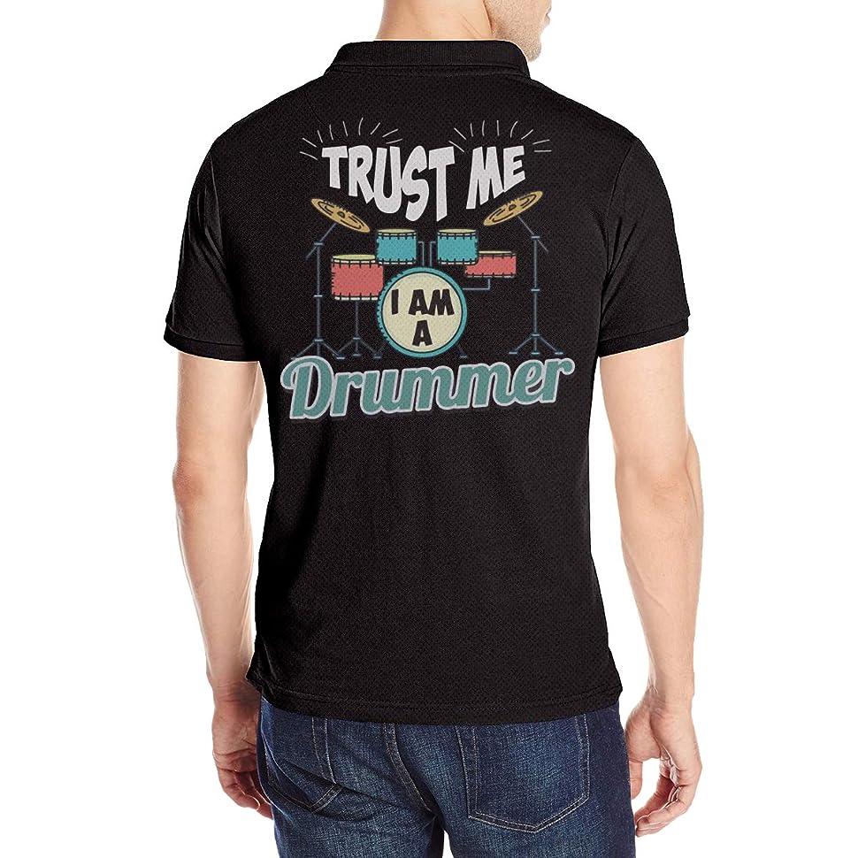 相対サイズ祖母変化メンズ ポロシャツ Polo 半袖 Trust Me I'M A Drummer Tシャツ 夏服 ボタンダウン T-Shirt 少年野球 カジュアル ゆったり 通気性 薄手 シンプル 柔らかい