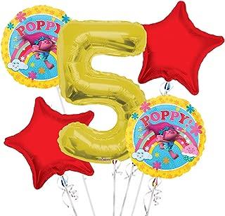 Trolls Balloon Bouquet 5th Birthday 5 pcs - Party Supplies