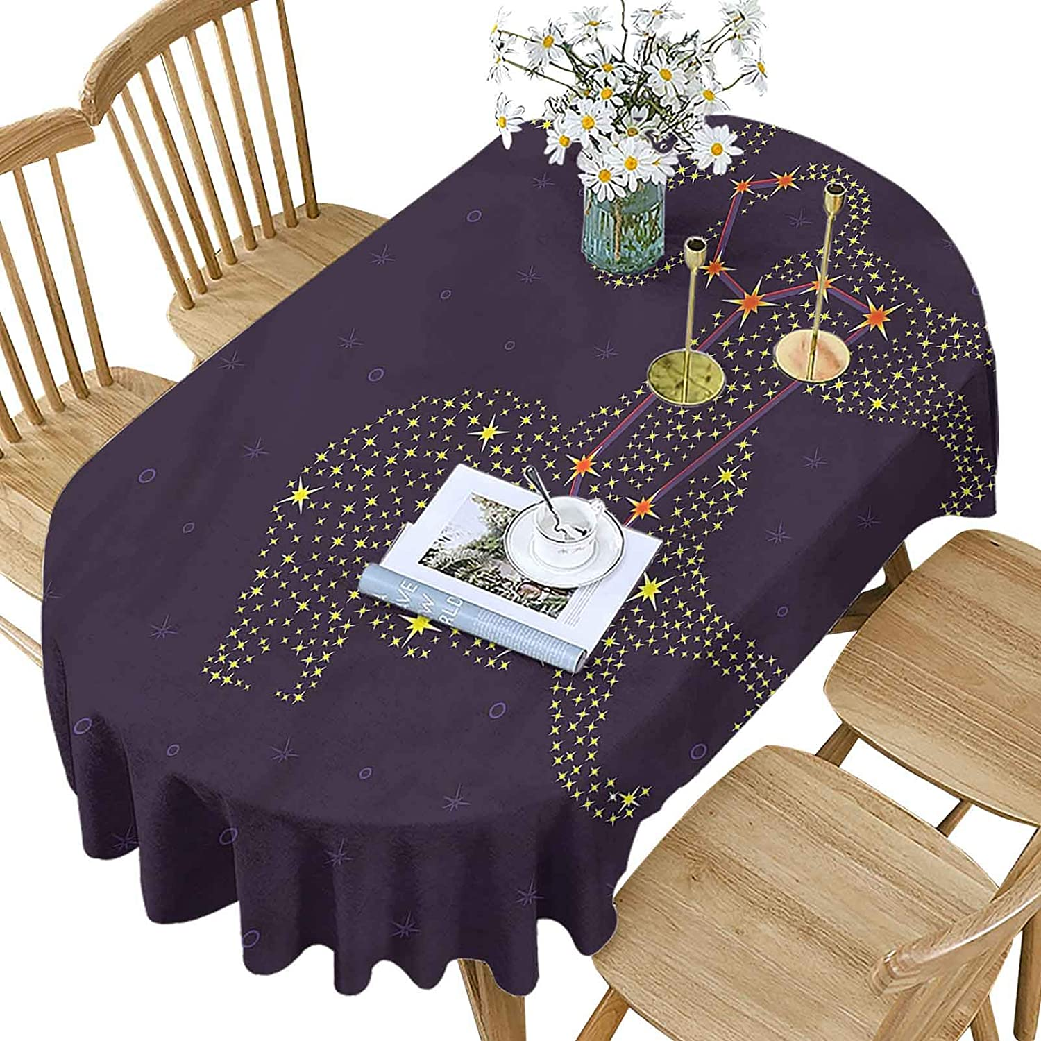 Excellence Zodiac Leo San Antonio Mall Polyester Oval Tablecloth Lion Star Pat Constellation