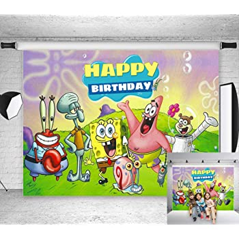 Amazon Com Tj Cartoon Animation Spongebob Patrick Star Photography Backdrops Happy Birthday Theme Party Decor Background Children Photo Booth Studio Props 7x5ft Vinyl Camera Photo