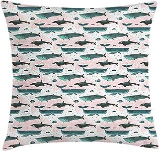 4 Piezas 18X18 Pulgadas Funda De Cojín De Almohada De Tiro De Ballenas,Patrón De Arte De Ballena Asesina De Orca Pequeña Y Grande De Peces Subacuáticos,Funda De Almohada Decorativa Cuadrada