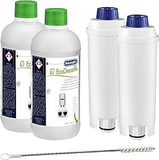 2 détartrants DeLonghi EcoDecalk + 2 filtres à eau Delonghi DLS C002 + 1 brosse de nettoyage Delonghi (pipe Cleaner).