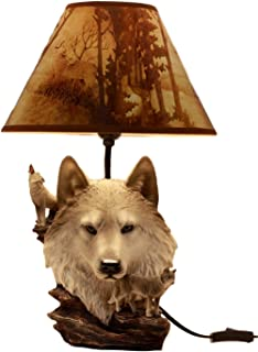 Ebros Gift Full Moon Howling Gray Wolf Akela Desktop Table Lamp with Shade Home Furnishing 19