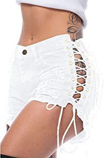 Best white lace up shorts Reviews