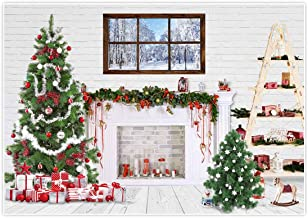Allenjoy 7x5ft Fabric White Christmas Backdrop for Photography Indoor Brick Wall Fireplace Sock Tree Portrait Background Family Holiday Newborn Children Baby Shower Party Decoration Shoot Studio Props