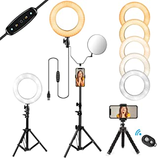 """10"""" Selfie Ring Light with Stand and Phone Holder for Makeup/Live Stream, Includes a Small Flexible Tripod Stand, Perfect for YouTube Video Shooting/Vlogs/Desktop, Compatible with iPhone Android Phone"""