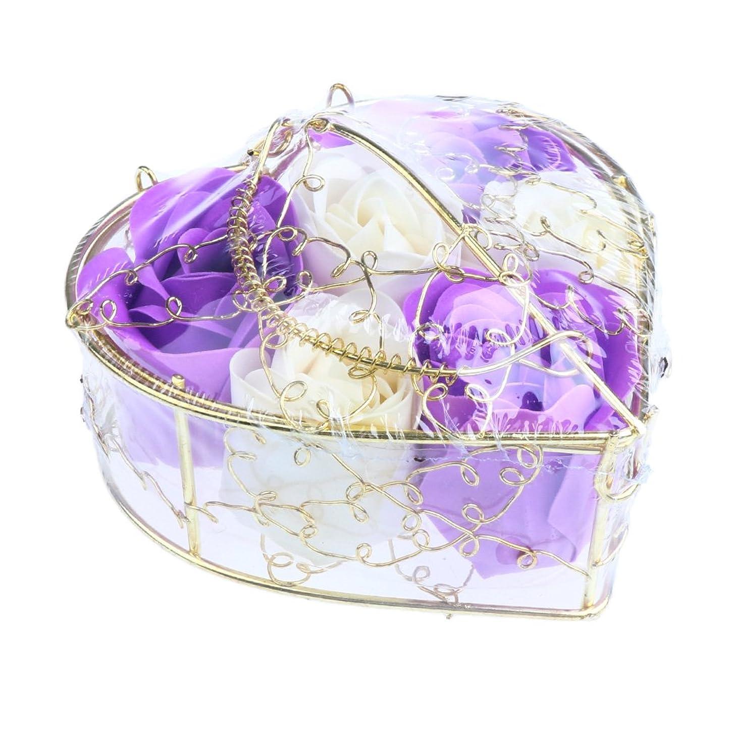 バイナリフェードアウト保守可能Fenteer 6個 ソープフラワー 石鹸の花 バラ 心の形 ギフトボックス  バレンタインデー  ホワイトデー  母の日 結婚記念日 プレゼント 全5タイプ選べる - 紫と白