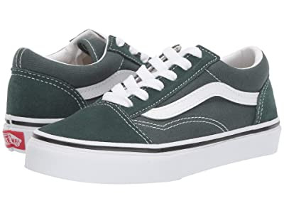 Vans Kids Old Skool (Little Kid/Big Kid) (Trekking Green/True White) Boys Shoes