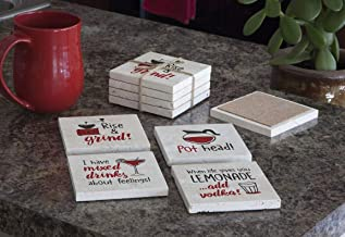 product image for Imagine Design Relatively Funny Rise & Grind, Pot Head, I Have Mixed Drink, When Life Gives You, 4-Pk Assort Travertine Coasters, Red/Black/White