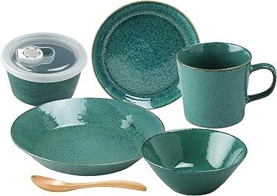 aito製作所 美濃焼「 ナチュラルカラー 」 食器セット 一人暮らし 6点セット グリーン 緑 緑 食洗機 電子レンジ対応 日本製 567506