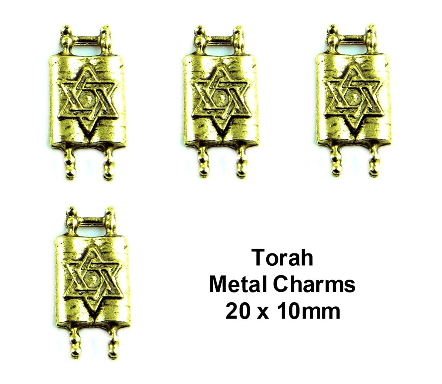 PlanetZia 6pcs Jewish Torah with Star of David Charms For Jewelry Making TVT-1022-1 (Antique Gold)
