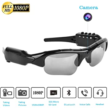 SMSELER Bluetooth Sunglasses Camera,Full HD 1080P with 65 Degree Angle Mini Camera for Outdoor Sports.