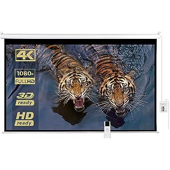 """PANTALLA DE PROYECCIÓN – PROYECTOR ELECTRICA PROFESIONAL 200"""" PULGADAS (5.08 MTS.) FORMATO HD 16:9, 4K-3D-HD READY, CONTROL REMOTO"""