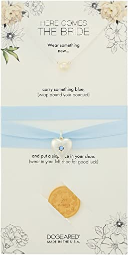 Dogeared Here Comes the Bride, Small Pearl Necklace, Something Blue Bouquet Wrap, and Sixpence Coin