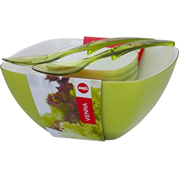 Emsa 509824 Salatschalen-Set mit Salatbesteck, 4.6 Liter und 0.6 Liter, Hellgrün, Vienna
