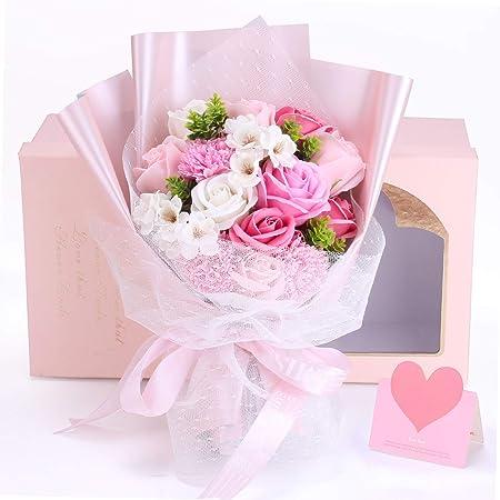 ソープフラワー 花束 母の日 バラ 誕生日人気ギフト 彼女 女性 造花 枯れない 石鹼花 り物 敬老の日 開店祝い 入学祝 メッセージカード付き ,手提げ付き(ピンク)