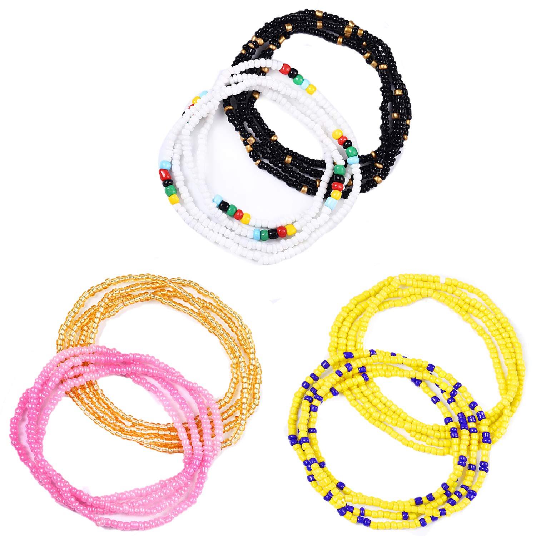 Tuoshei 6 Piece Waist Bead Se Belly Beads African Waist Bead Body Chains Beaded Belly Chain Bikini Jewelry for Woman Girl (6 PCS) (style 5)