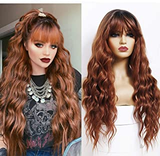 ANDRIA Natural Wave Wigs with Bangs Honey Brown Wigs for Black Women Dark Roots Brown Wig Synthetic Long Wavy Loose Curly ...