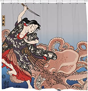 Sharp Shirter Japanese Shower Curtain Set Retro Bathroom Decor Vintage Art Geisha Fighting Octopus 71x74 Hooks Included