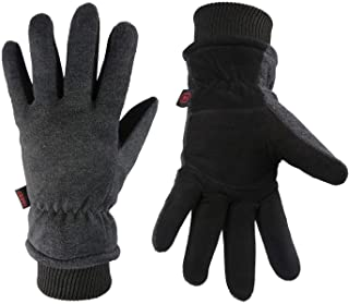OZERO Winter Gloves Deerskin Suede Leather Palm with Big Patch – Water-Resistant..