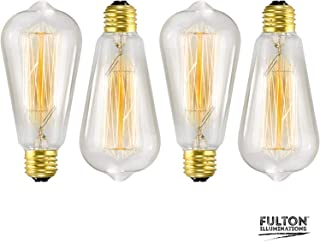 4-Pack Edison Bulb, Vintage Incandescent Light Bulbs, Antique Style Light Bulb, 40W, E26 Base, 110V, Dimmable Antique Exposed Filament, E26, ST58 Lights for Home Lighting and Decorative Fixtures