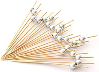 PuTwo Handmade Cocktail Picks 100 Count Sticks Wooden Toothpicks Party Supplies - Silver Pearl