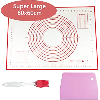 Extra Large Pastry Board, 80x60cm Silicone Baking Mat with Measurements, Kneading Board for Dough Rolling