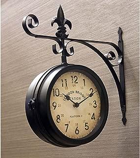 壁掛両面時計 ステーションクロック ウォール (L) 店舗 掛時計 駅 アンティーク ヨーロッパ レトロ調 輸入  (ブラック)