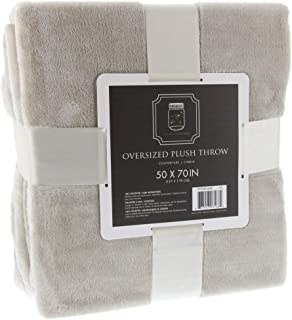 THE FIREFLY COLLECTION Ultra Plush Throw Blanket, 50 x 70 Inches, Linen Tan – Use as Your Couch Throw Blanket or Comfy Chair Blanket Throw – A Perfect Fluffy Blanket for Home and Travel