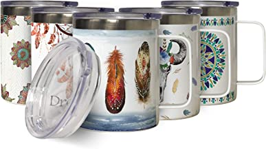 Feathers Insulated Stainless Steel Coffee Mug with Lid, Double Wall Coastal Travel Mug with Handle