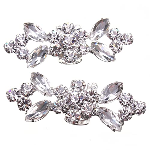 SODIAL(R) 1Pair Rhinestone Crystal Wedding Bridal Diamante Crystal Shoe  Clips 7789a777c38e