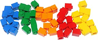LEGO Parts and Pieces: Assorted 1x1 Bricks (Blue, Green, Orange, Red, Yellow) - 50 Pieces