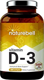 NatureBell Vitamin D3 Liquid Softgels, Vitamin D3 5000 IU, 480 Counts, Strongly Support Muscle, Bone and Immune Health, No...