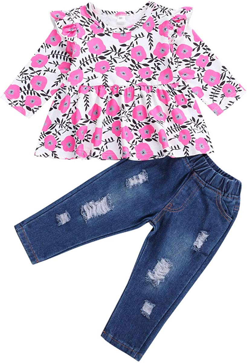Toddler Kids Clothing Baby Girls Cute Flower Long Sleeve Blouse Tank Top+Denim Long Pants Trousers Outfit Set