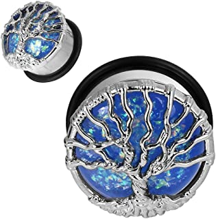 1Pair Stainless Steel Opal Tree Single Flare with O-Ring Ear Tunnels Expander Plugs Stretcher Gauge 00g-1