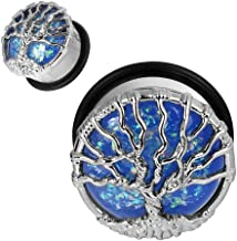 Longbeauty 1Pair Stainless Steel Opal Tree Single Flare with O-Ring Ear Tunnels Expander Plugs Stretcher Gauge 00g-1