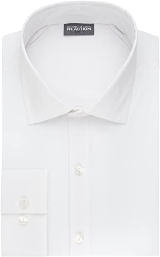 Kenneth Cole Reaction Hommes's Technicole Slim Fit Stretch Solid Spread Collar Robe Shirt , blanc, 16.5  Neck 34 -35  Sleeve