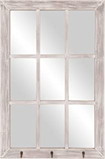 24x36 Distressed White Windowpane Wall Mirror with Hooks